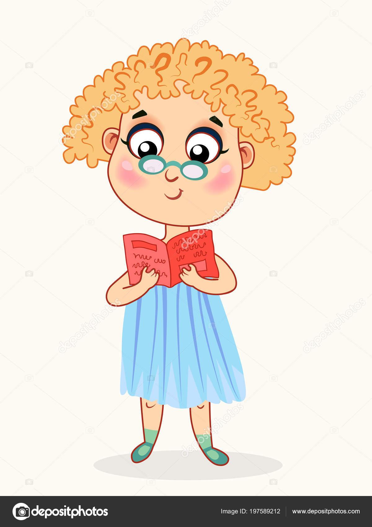 Petite Fille De Dessin Animé Lisant Un Livre Image