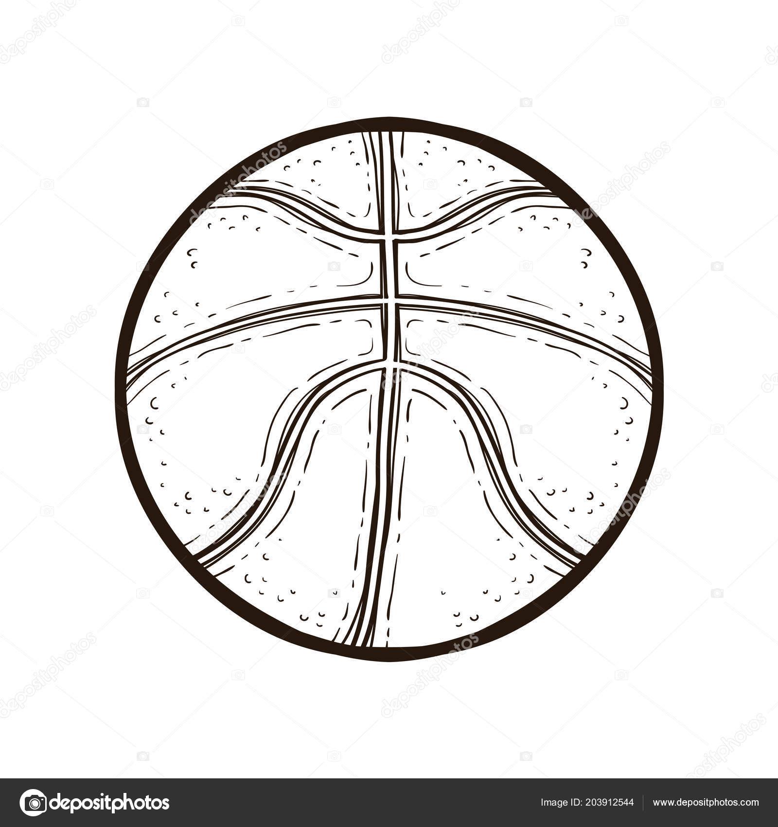 Ballon Pour Coloriage.Ballon De Basket Isole Livre De Coloriage Image