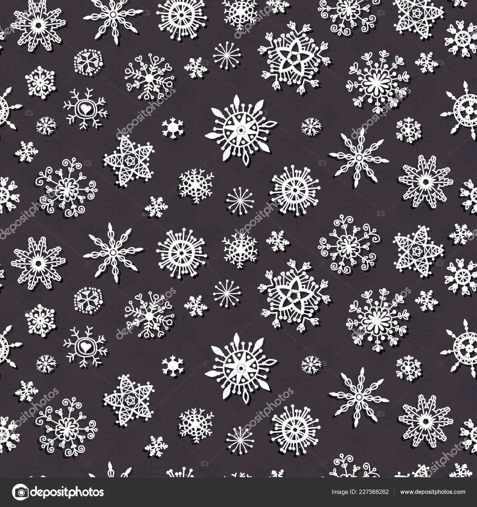 Invierno Nieve Copos Garabatos Patrón Decoración De Navidad