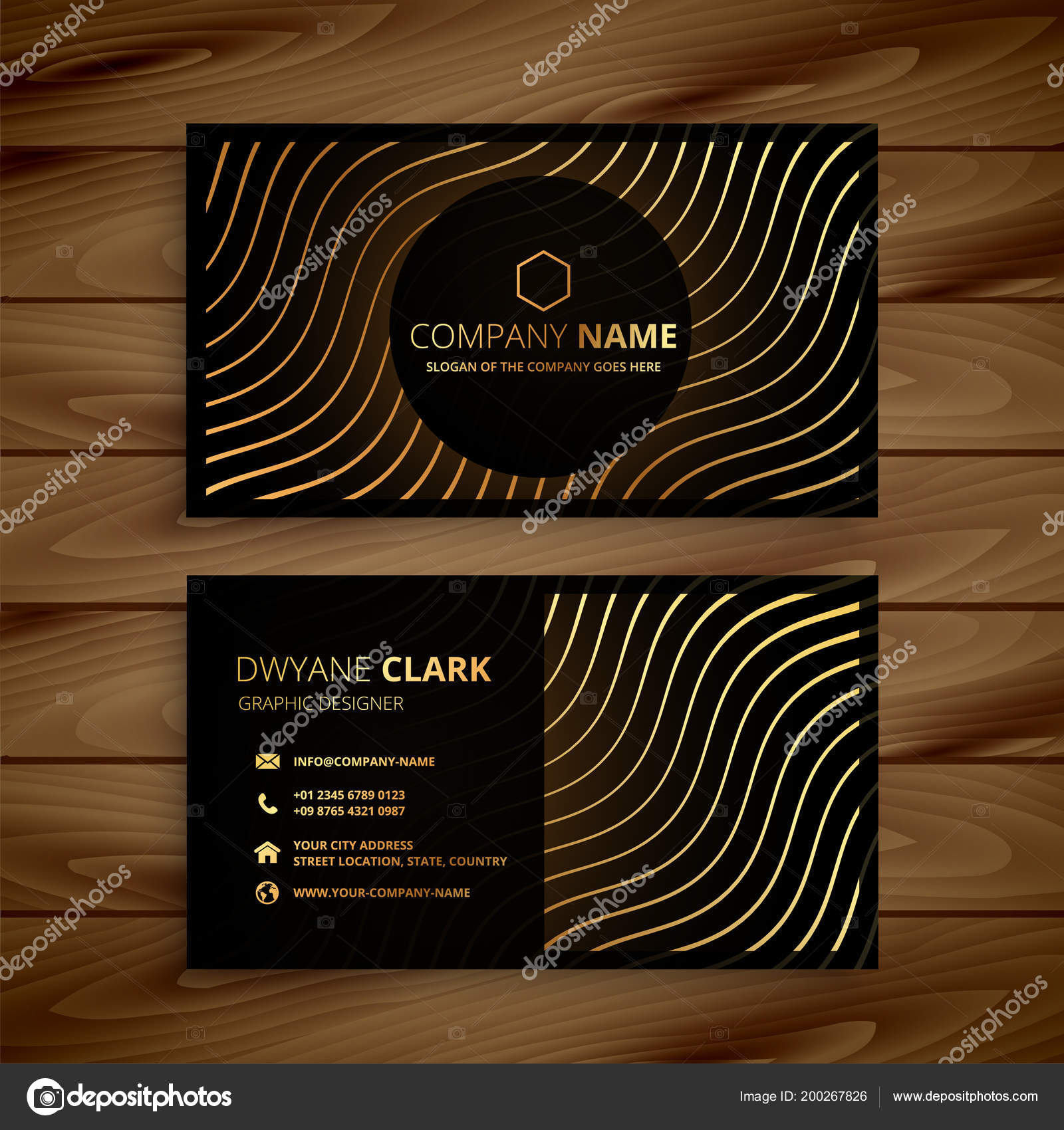 Golden premium business card template stock vector starline golden premium business card template stock vector wajeb Gallery