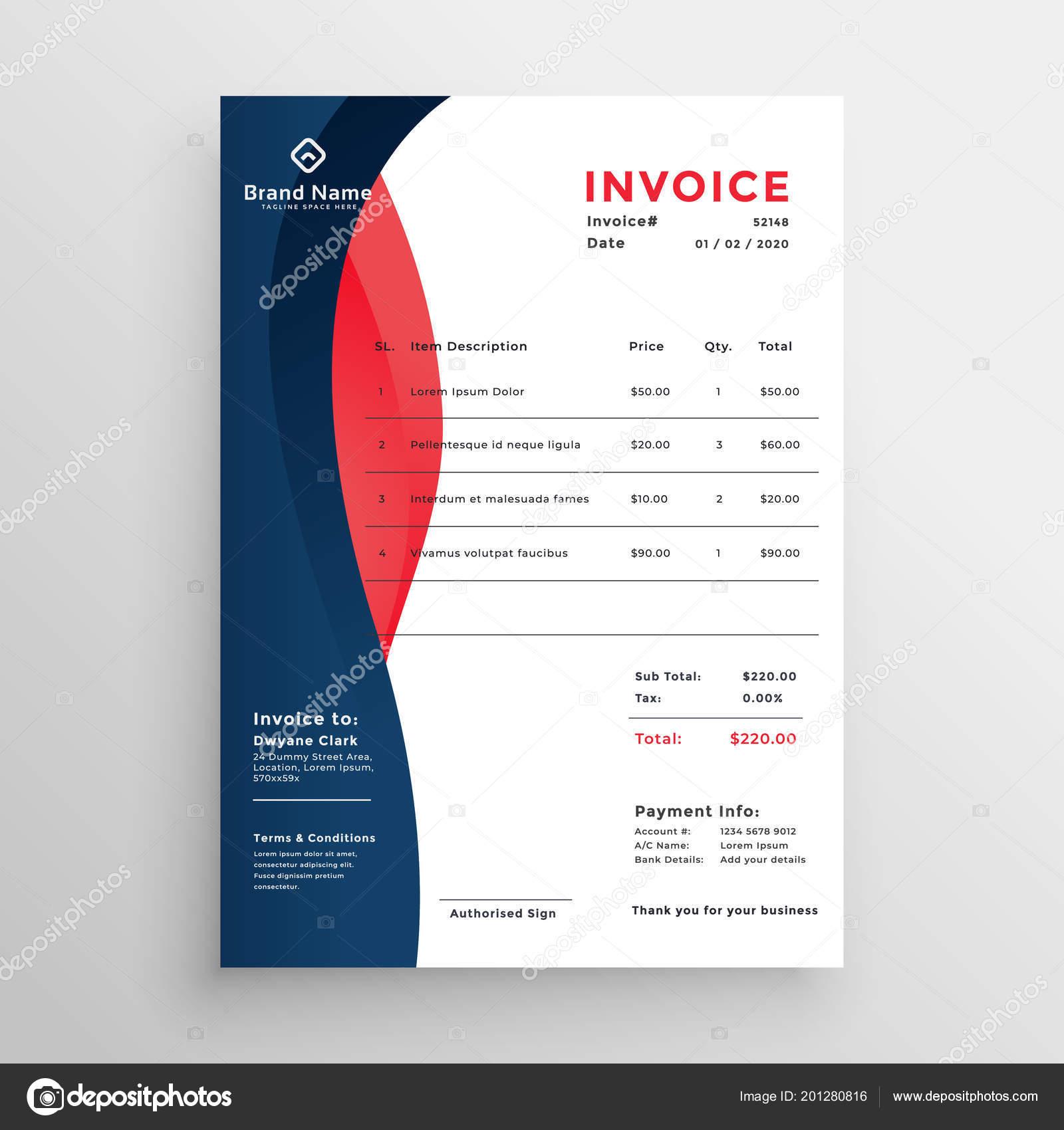 Modern Professional Invoice Template Design Stock Vector