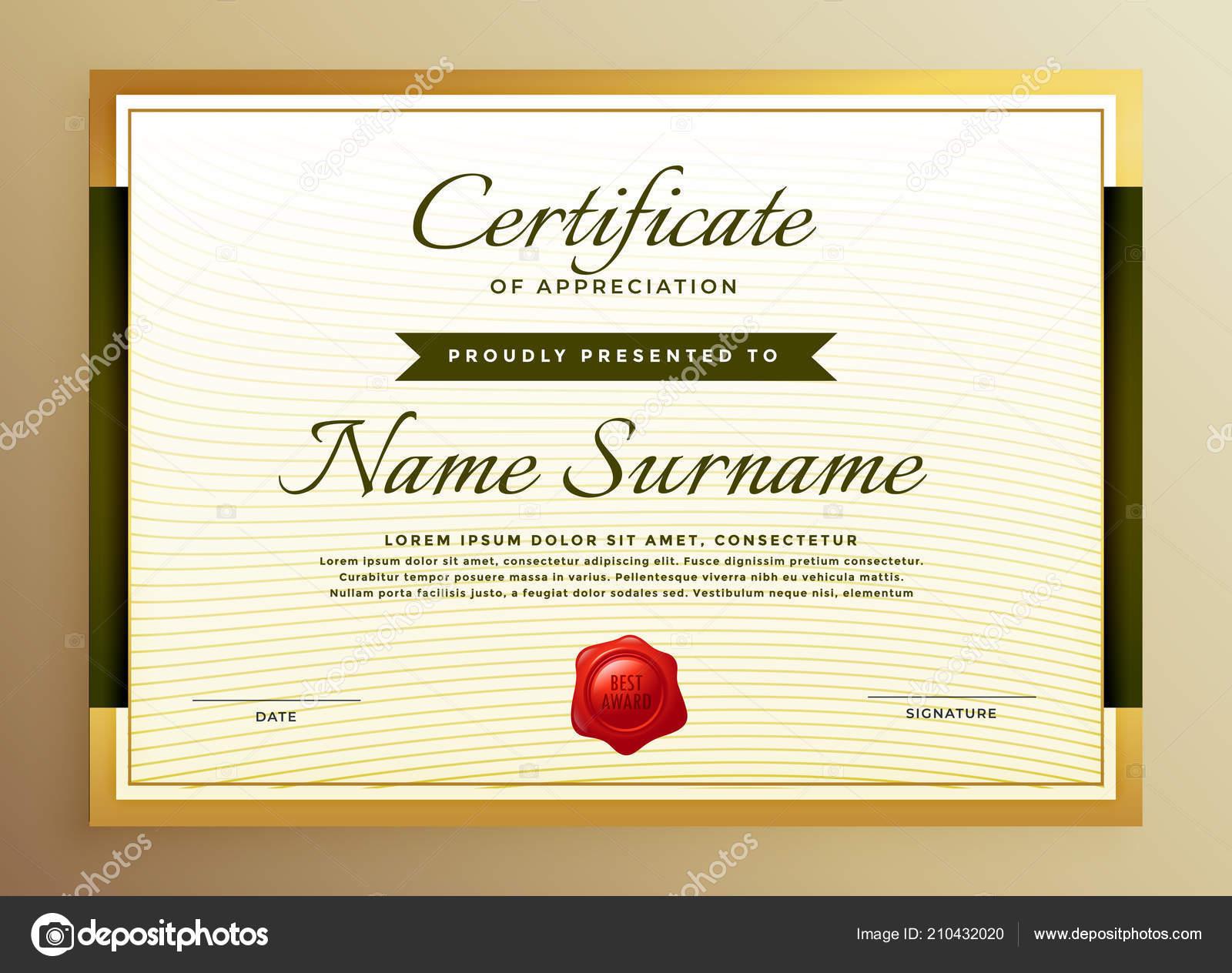 premium golden certificate appreciation template stock vector