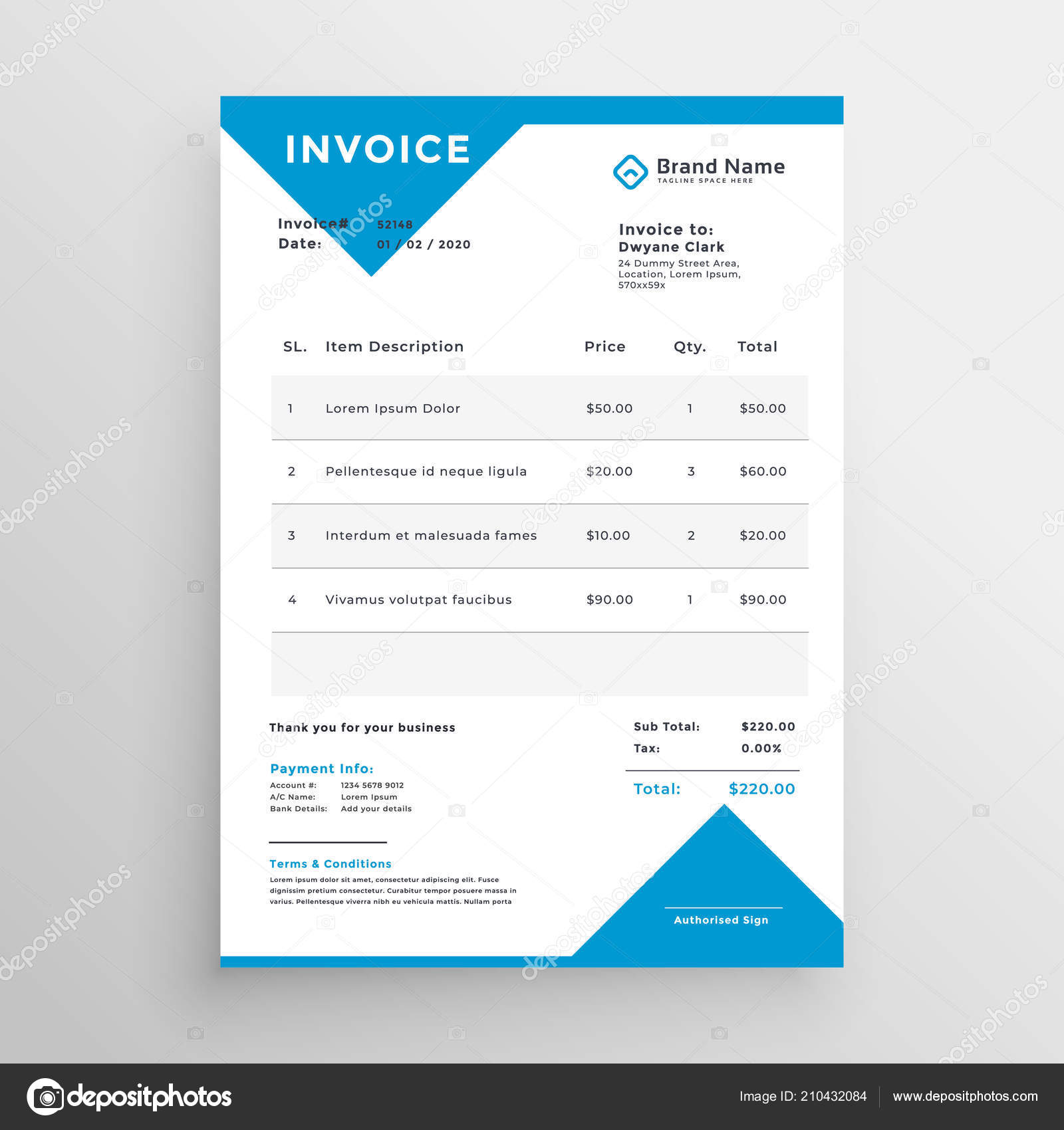 minimal blue invoice template design stock vector starline