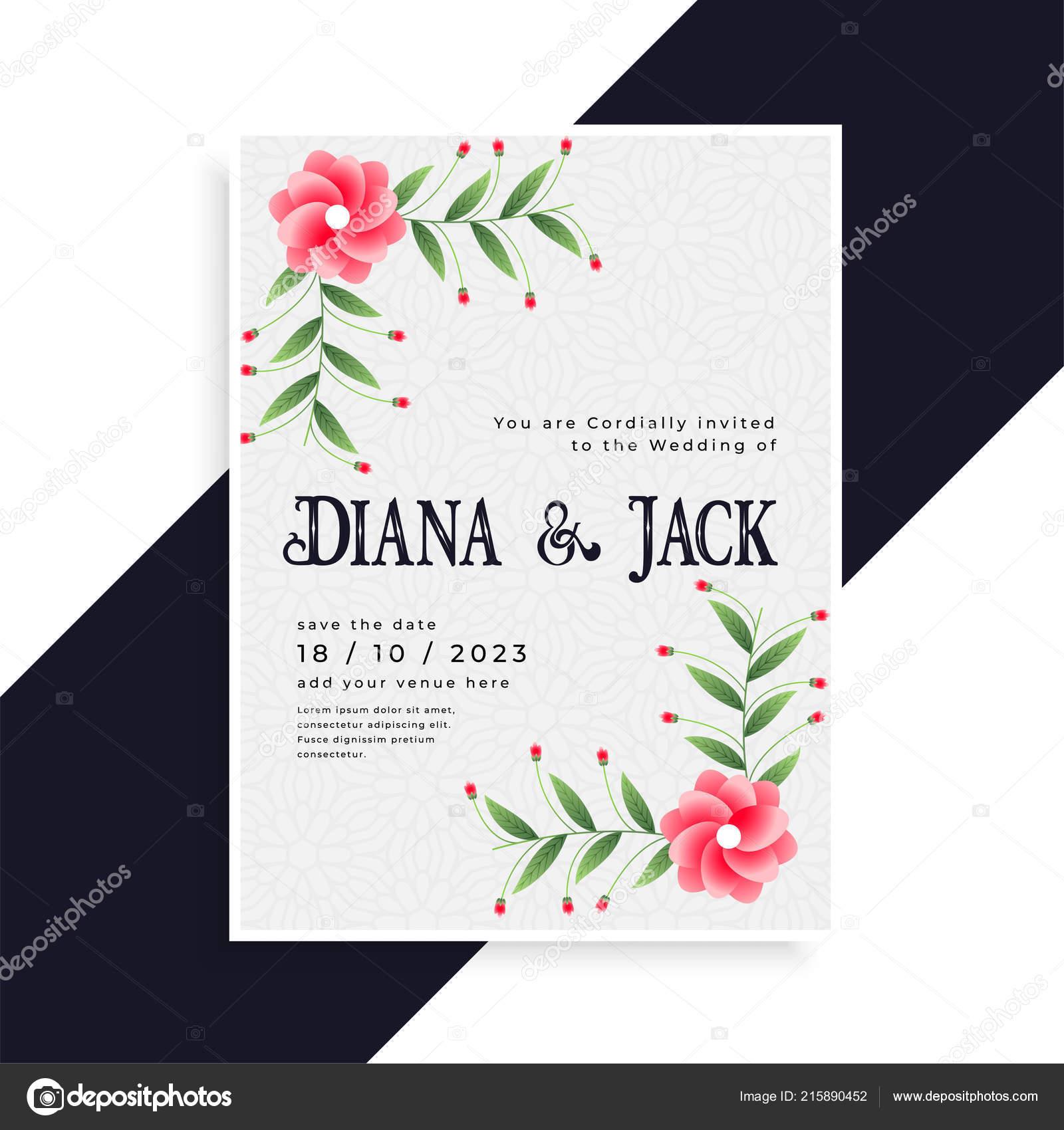 Conception Cartes Invitation Mariage Belle Image Vectorielle