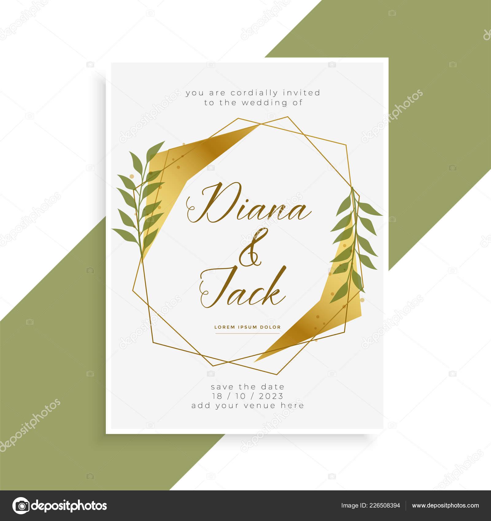 Diseño Tarjeta Invitación Boda Oro Hermosa Vector De Stock
