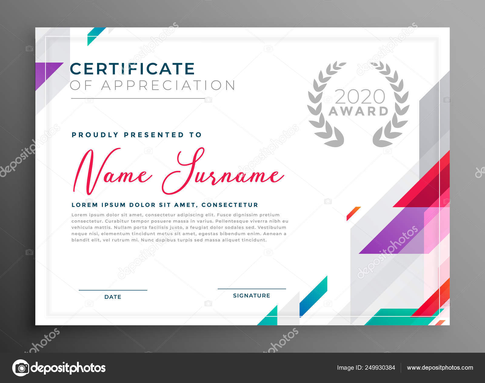 Modern certificate award template design Stock Vector Image by Inside Award Certificate Design Template