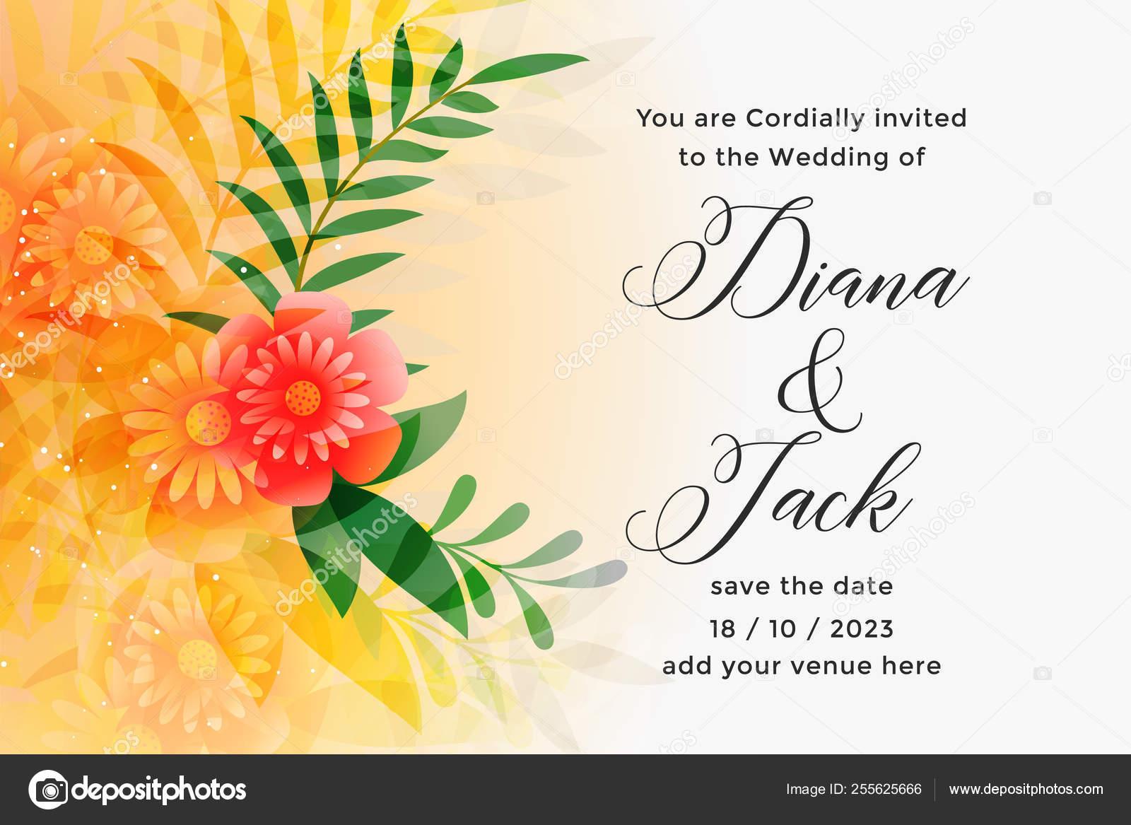 Lovely Orange Wedding Invitation Card Design Template