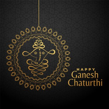 happy ganesha chaturthi golden background