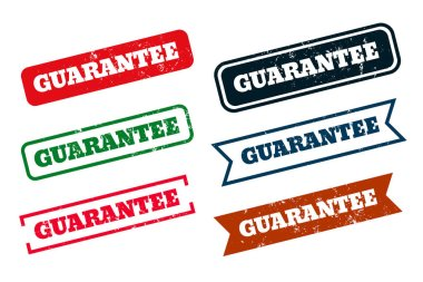 Guarantee grunge distressed rubber stamps set of six icon