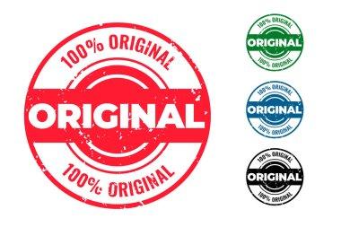 Original circular rubber stamps set of four icon