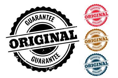 Original guarantee authentic rubber stamp set of four icon
