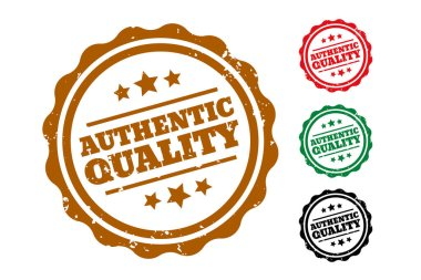 Authentic quality rubber stamps set of four icon