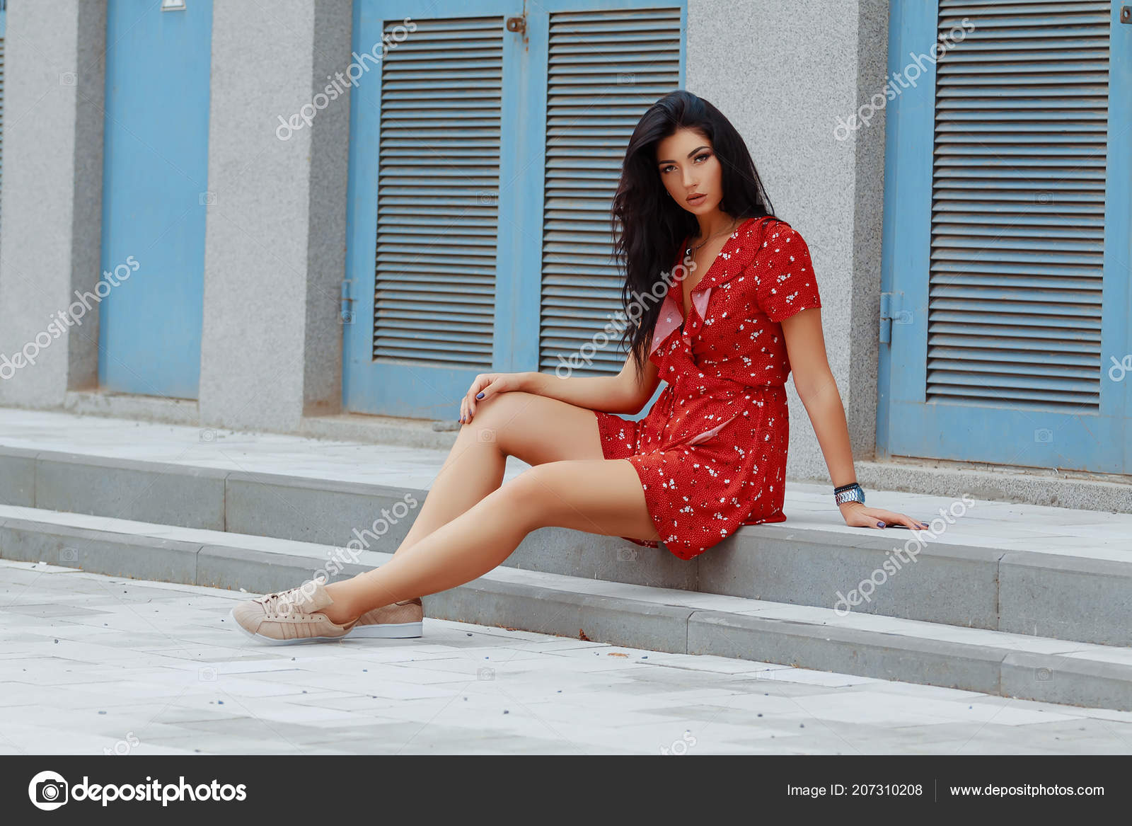 Young Brunette Girl Waiting Someone Sitting Stairs Red Short Dress