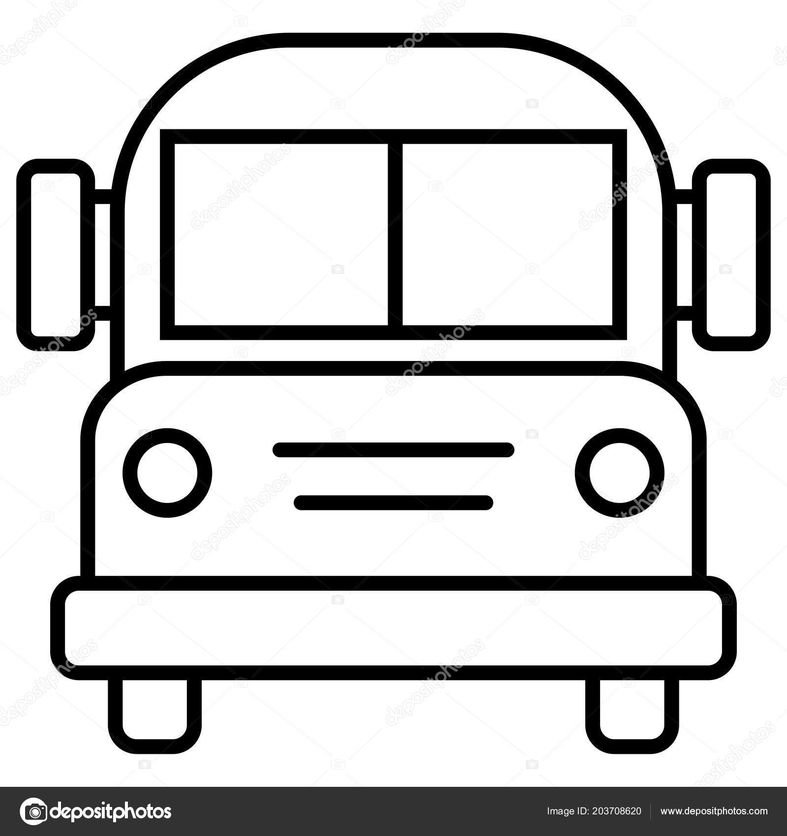 School Bus Drawing Outline White Background Stock Vector