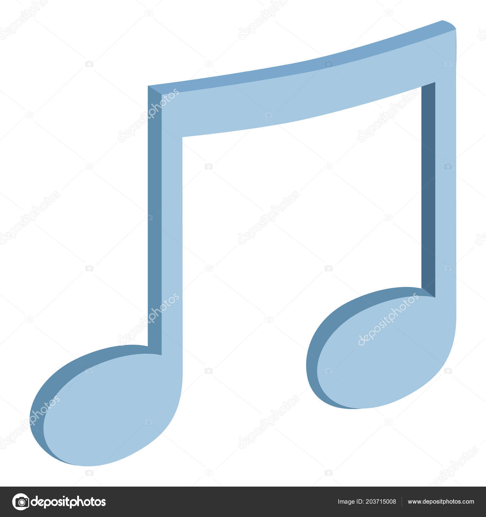 blue colored musical note three dimensional view white background