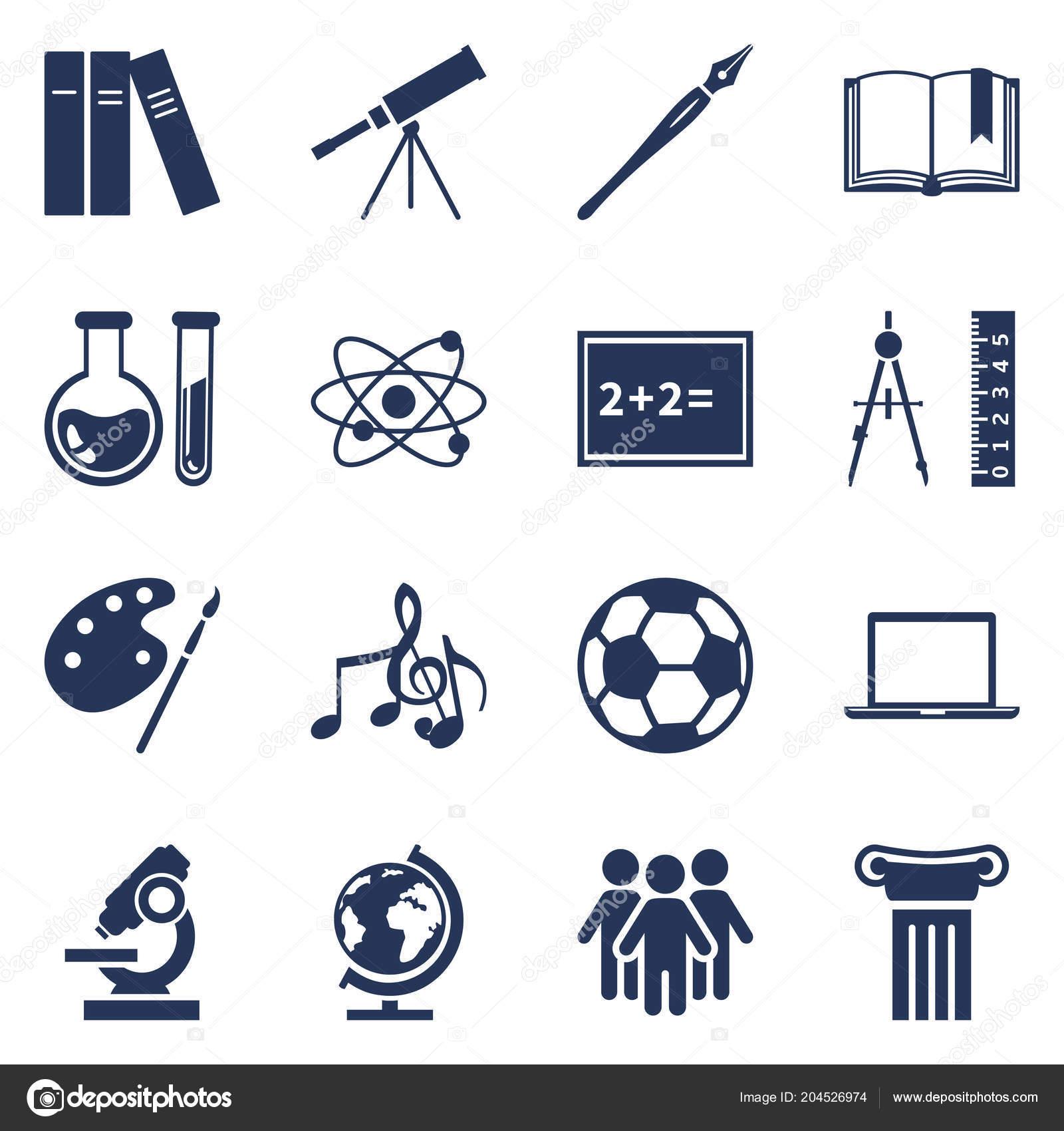 Vector Set Silhouette Icons School Subject Icons Education Symbols