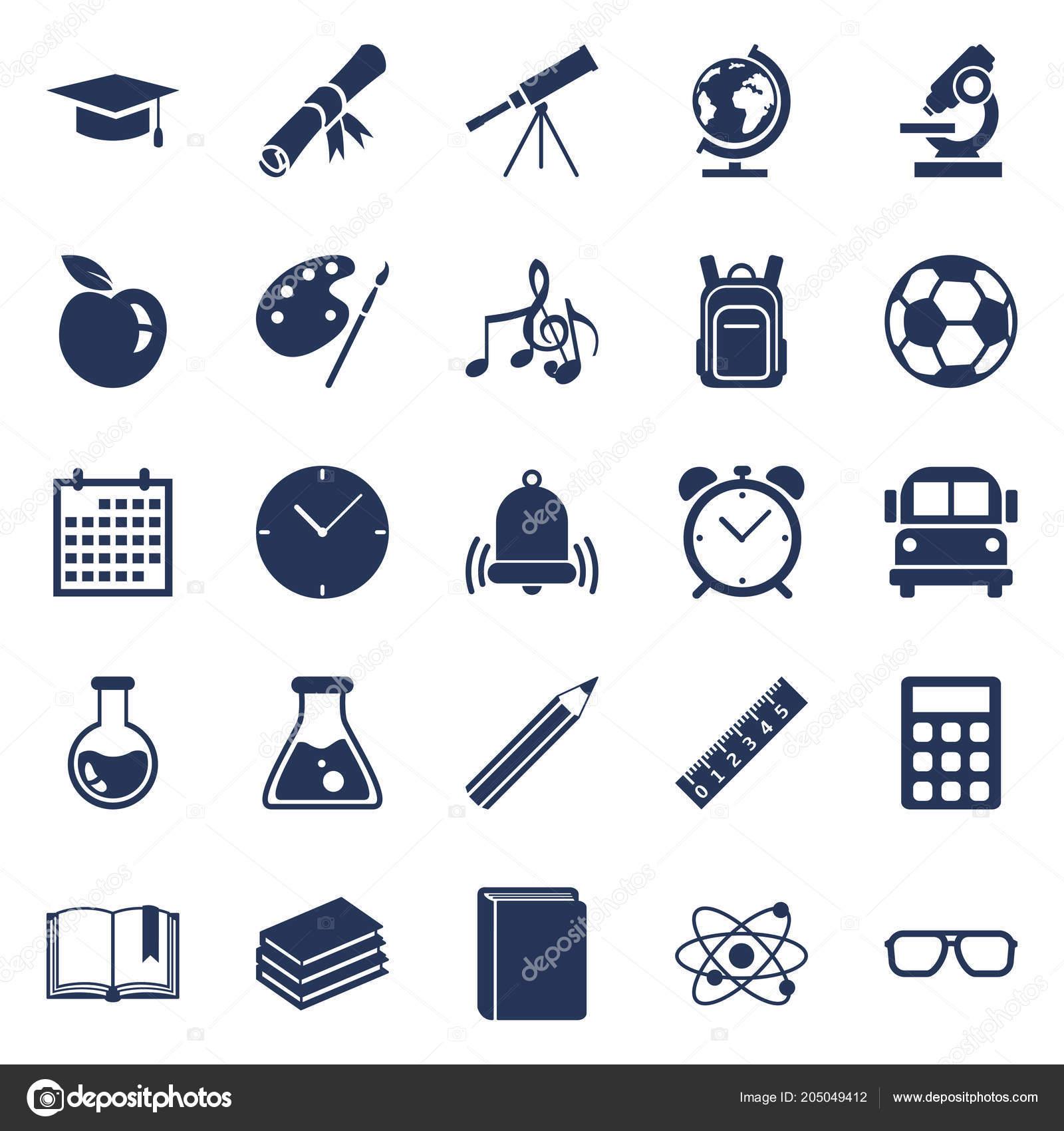 Vector Set Silhouette Education Symbols Back School Icons
