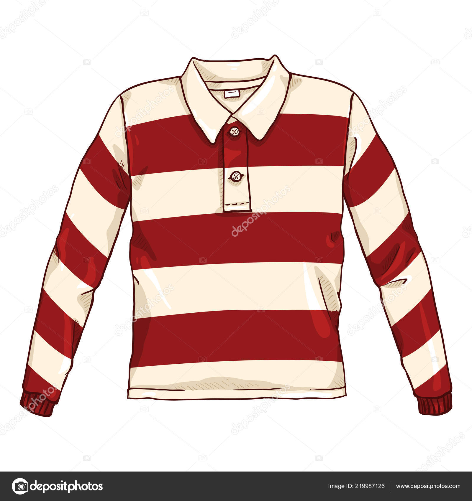 c40bfe059700 Διάνυσμα καρτούν εικονογράφηση χρώμα - κόκκινο και λευκό ριγέ πουκάμισο  ράγκμπι — Διάνυσμα με ...
