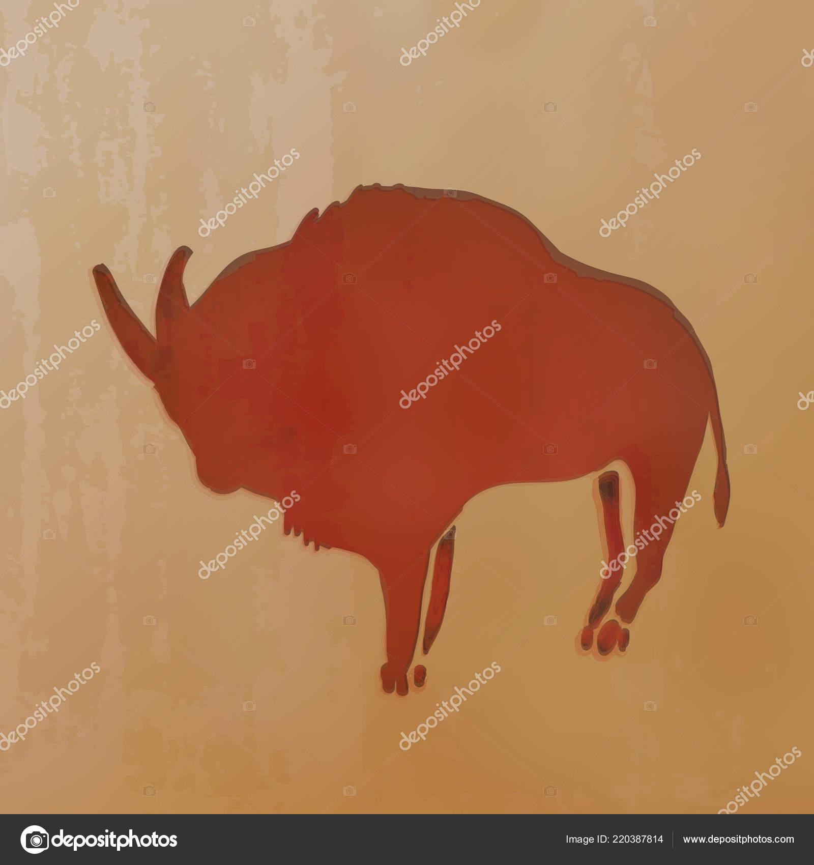 Vektorove Ilustrace Cervena Hlina Nakreslene Staroveke Jeskynni