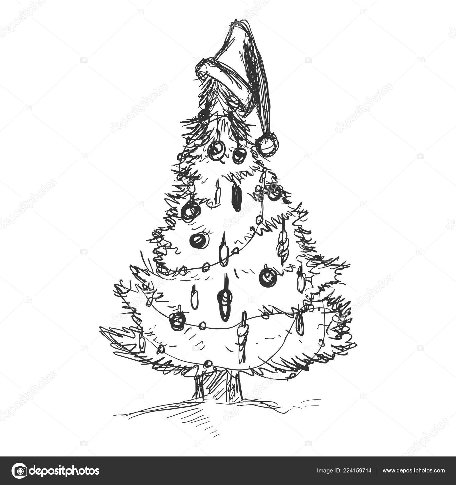 Vector Dirty Sketch Illustration Christmas Tree Decorations Stock