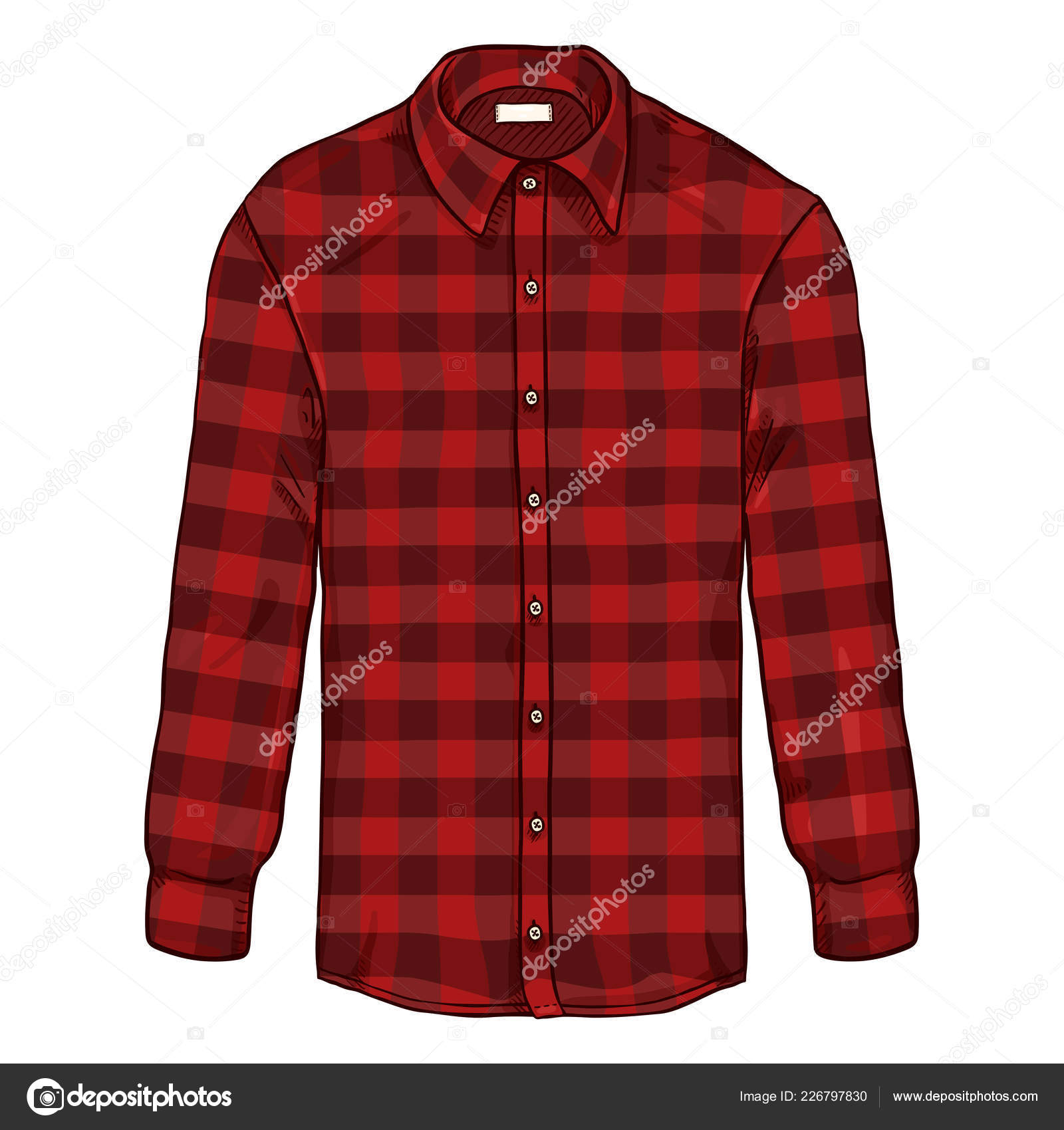 Dessin Animé Long Manchon Rouge Casual Hommes Chemise