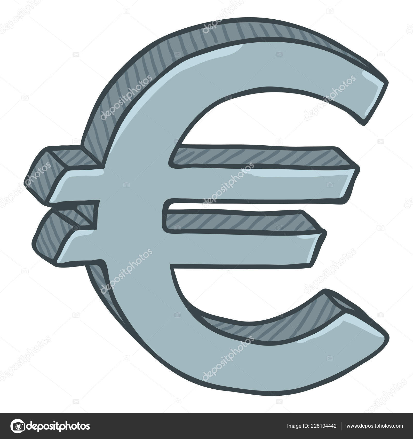 Cartoon Silver Currency Sign Euro Money Symbol Isolated White