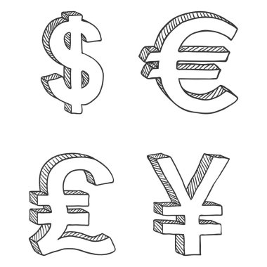 Set of Sketch Currency Signs isolated on white background