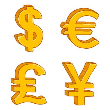 Set of Cartoon Gold Currency Signs isolated on white background