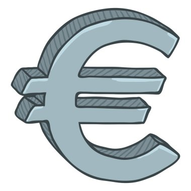 Cartoon Silver Currency Sign, Euro Money Symbol isolated on white background