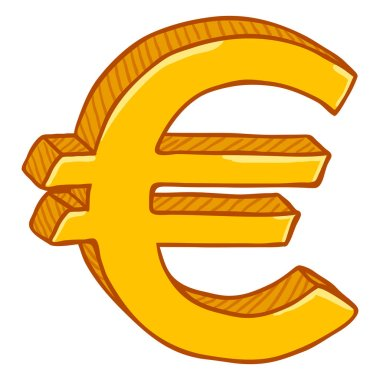 Gold Cartoon Currency Sign, Euro Money Symbol isolated on white background