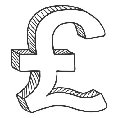 Vector Sketch Currency Symbol. English Pound Sign.
