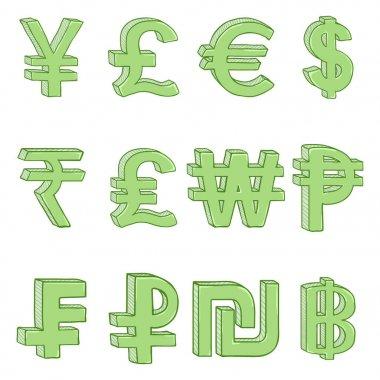 Vector Set of Cartoon Green Currency Symbols