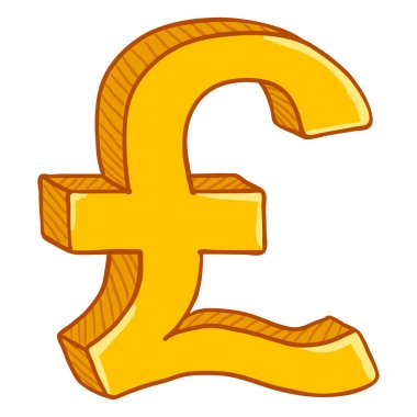 Vector Cartoon Gold Currency Sign. Britain Pound Symbol