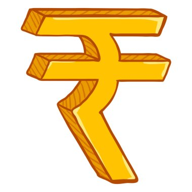 Vector Cartoon Gold Indian Currency Symbol. Indian Rupee Sign.