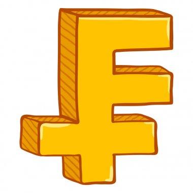 Vector Cartoon Gold Switzerland Currency Symbol. Swiss Franc Sign.