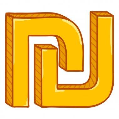 Vector Cartoon Gold Israeli Currency Symbol. Shekel Sign.