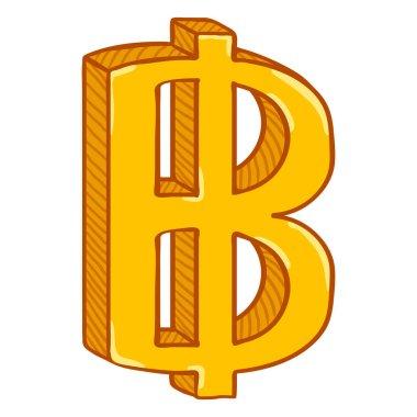 Vector Cartoon Gold Thai Currency Symbol. Thailand Baht.