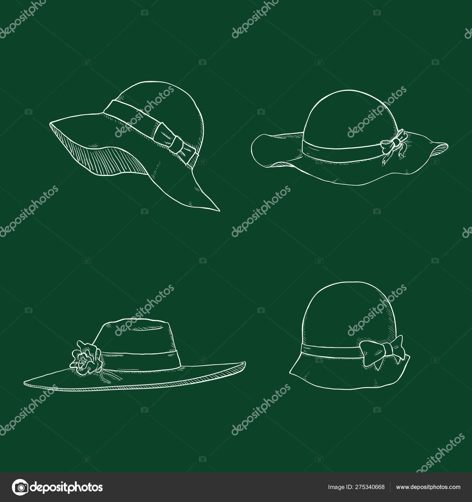 e3fd7c27 Vector Set of Chalk Sketch Women Hats — Stock Vector © nikiteev ...