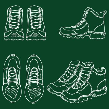 Vector Set of Chalk Sketch Illustration - Extreme Hiking Boots