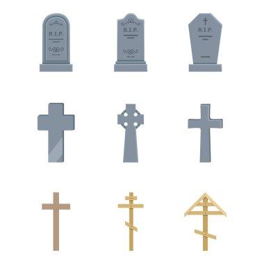 Vector Set of Cemetery Icons. Headstones, Gravestones, Tombstones and Crosses. Funeral Symbol. stock vector