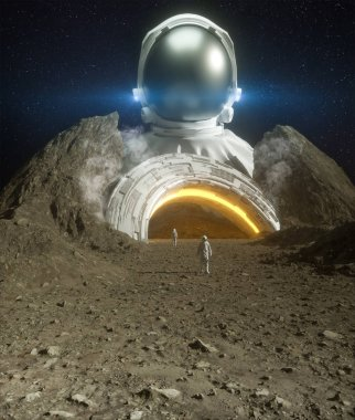 Astronaut and spaceship landed on planet