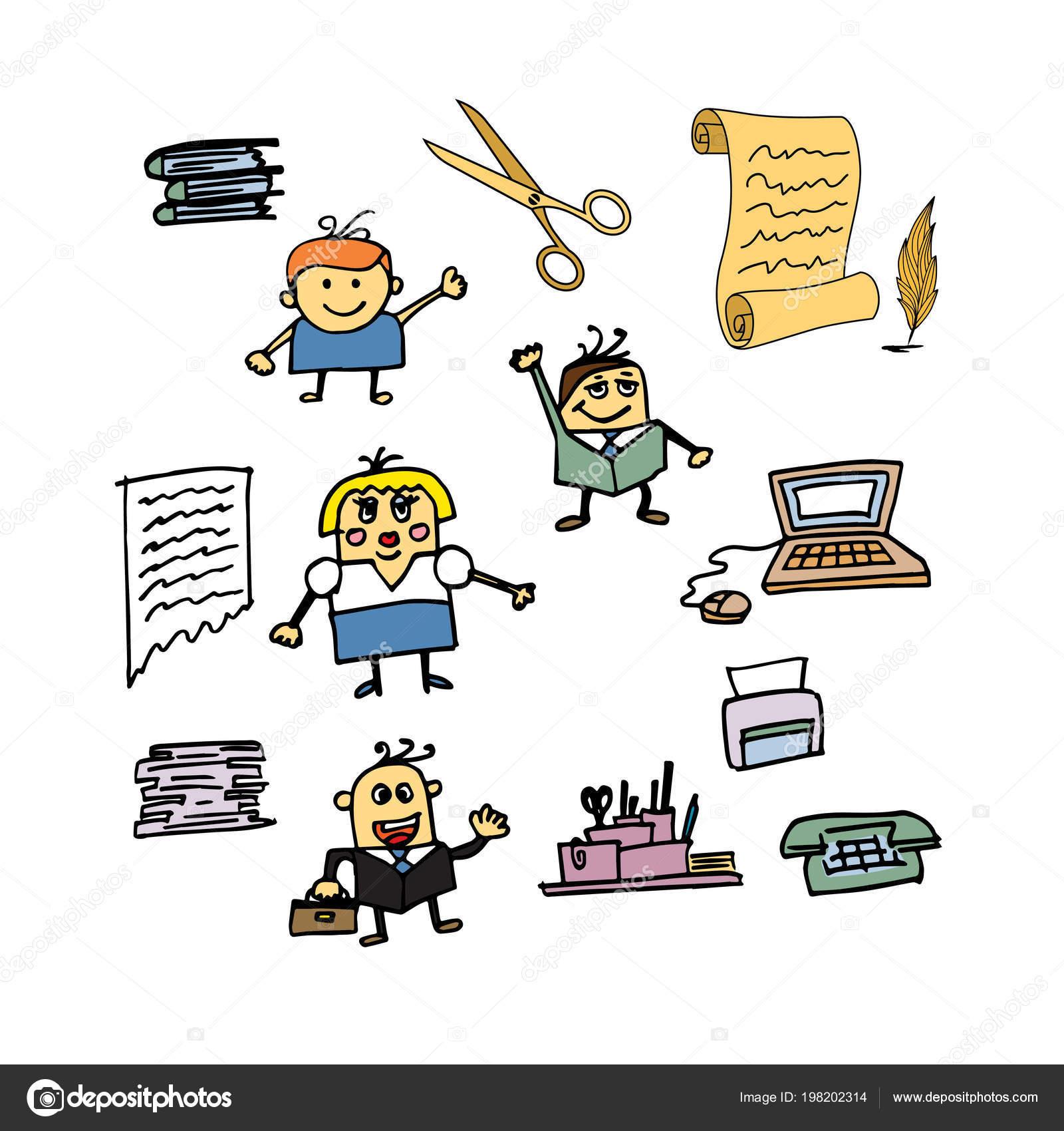 Satz Der Karikatur Lustige Buro Menschen Illustration Buro Cartoon