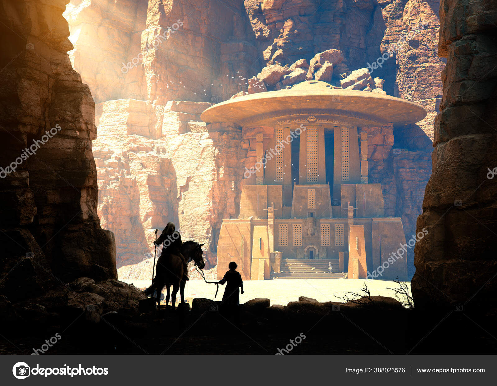 Explorer His Child Discover Ancient Temple Alien Stairs Flying Saucer Stock Photo Image By C Danielegay 388023576