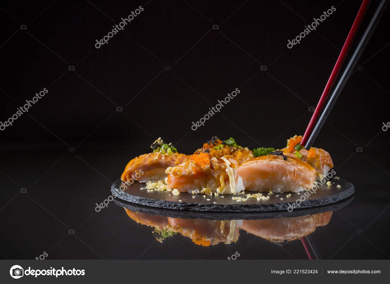 Salmon Nigiri Sushi Salmon Burned Topped Shrimp Eggs Tempura Served Stock Photo Image By C Appleeyesstudio 221523424