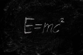 Fotografie The equation of theory of relativity on the chalk Board.