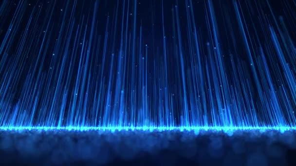 Modrá Světelná řada částic pozadí je nádherným pozadím. Elegantní modré světelné pruhy stále rostou, náhodné modré částice jsou neustále produkovány, představení v večerní fázi.