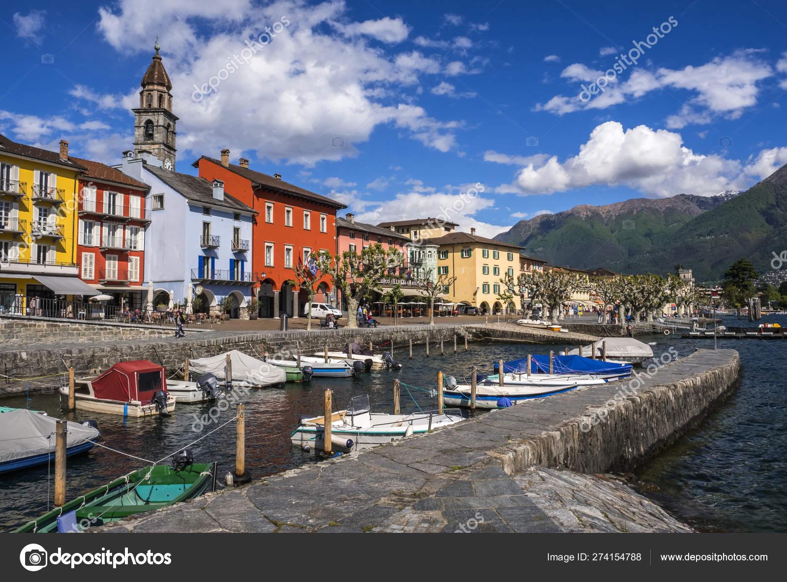 Обои Пейзаж, причалы, лодки, ticino, швейцария, дома, ascona, набережная. Города foto 13