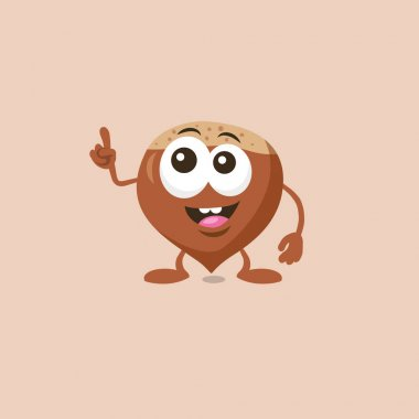 Illustration of cute hazelnut mascot which has a great idea isolated on light background. Flat design style for your mascot branding.