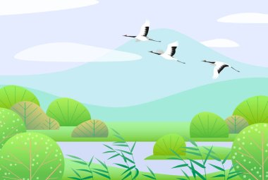 Nature background with wetland scene and flying Japanese cranes. Spring landscape with mountains, green trees, reed and birds.  Vector flat illustration.