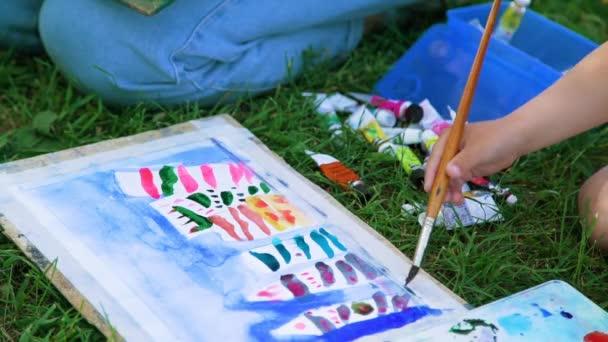 Közelkép a gyermek rajz, akvarell